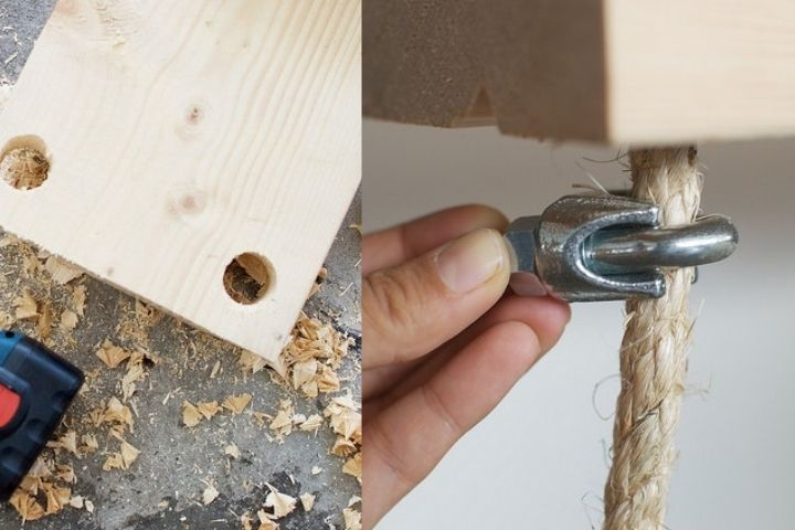 Процесс создания стеллажа на веревках