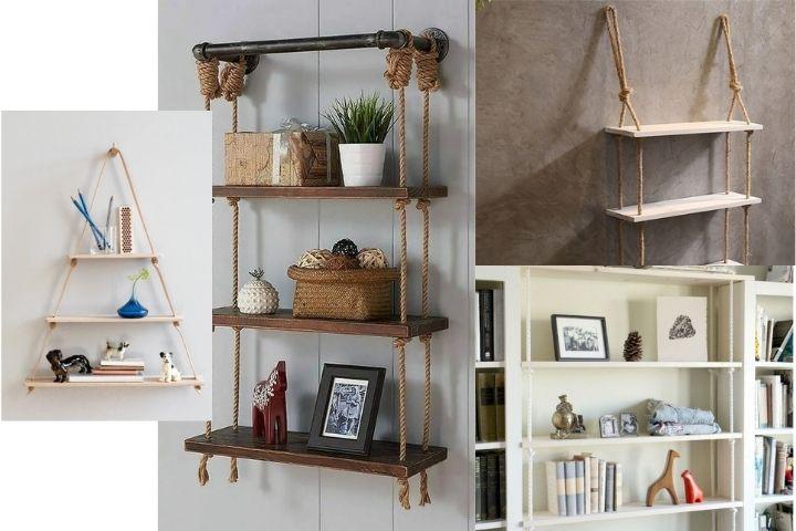 Различные дизайны полок и этажерок на веревках