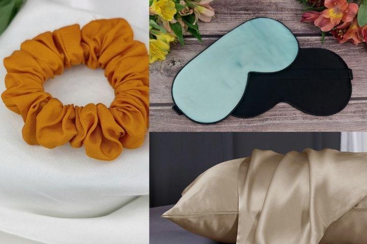 Комплект для качественного сна: резинка для волос, маска и наволочка из шелка