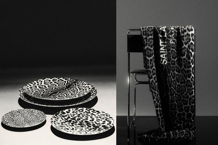 Посуда с леопардовым принтом и плед в таком же дизайне