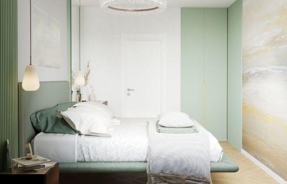 Спальня с дверью в цвет стены