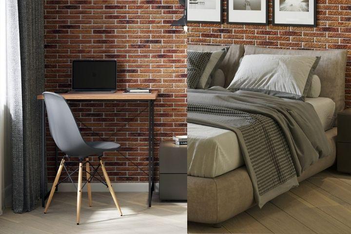 Рабочая зона с небольшим столов и мягкая обивка кровати