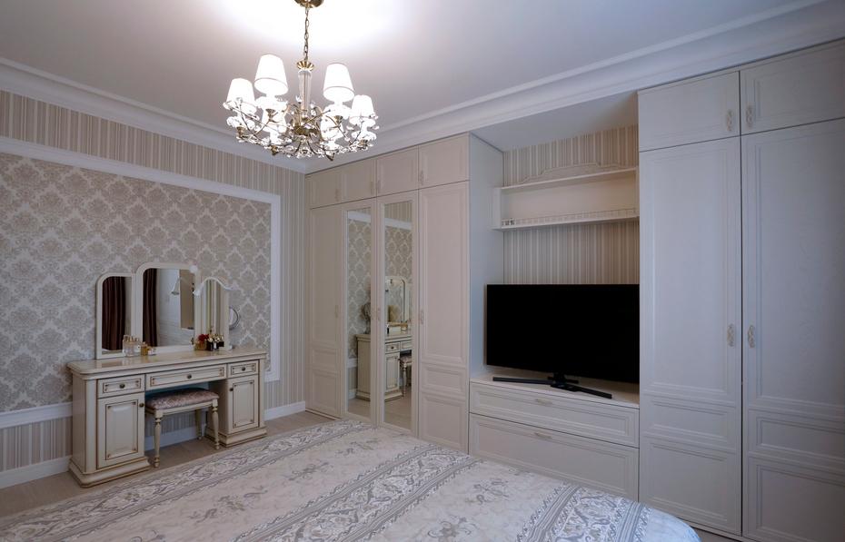 Мебель и отделка в спальне в одной цветовой гамме