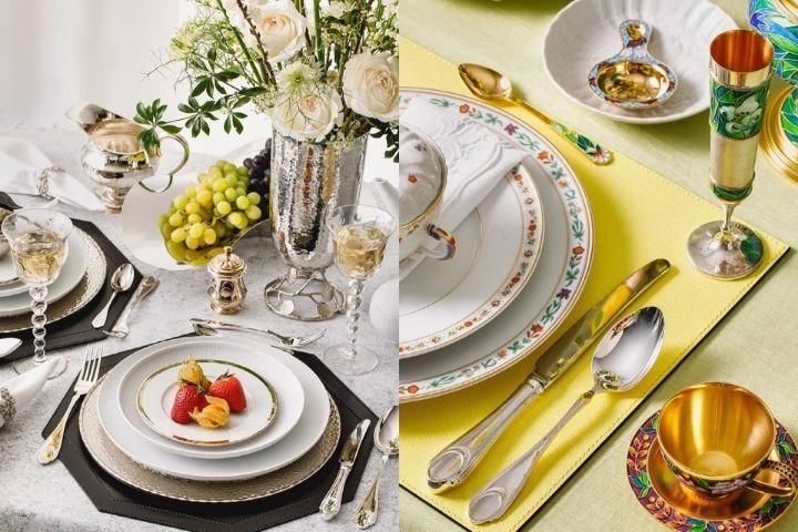 Лаконичная посуда из фарфора и столовое серебро