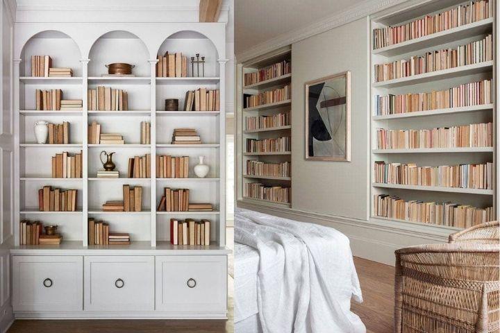 Лаконичное решение по хранению книг в стеллажах