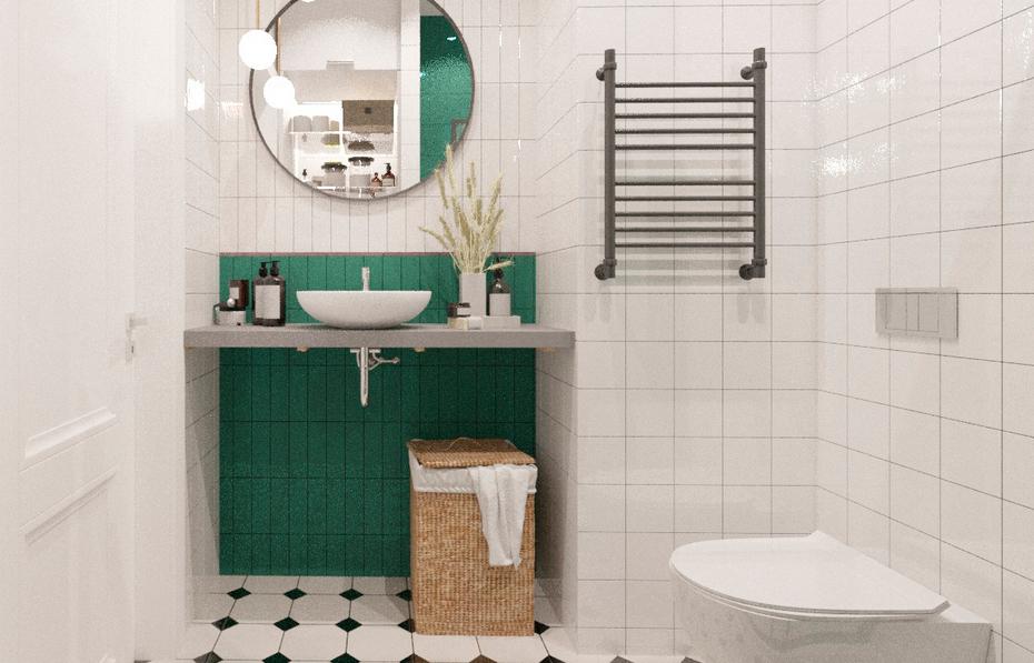 Ванная комната с контрастной отделкой