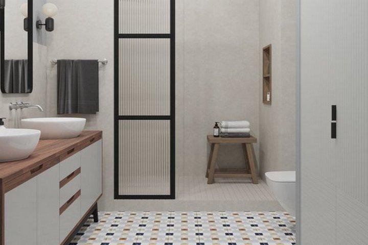 Ванная комната с контрастной перегородкой душевой