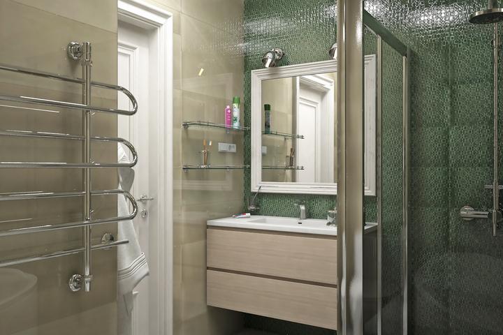 Природный зеленый цвет в отделке части ванной