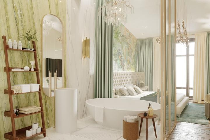 Ванная комната со спрятанными коммуникациями