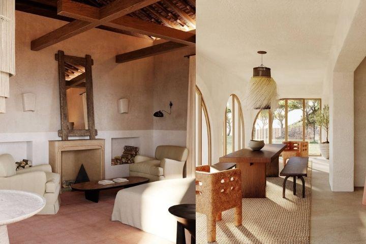 Спальня слева и столовая справа